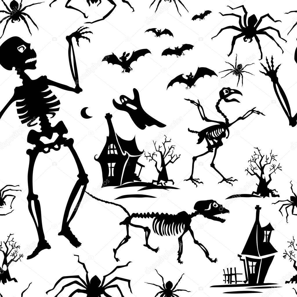 1024x1024 Pattern, Black And White, Silhouette, Skeleton, Bat, Chicken