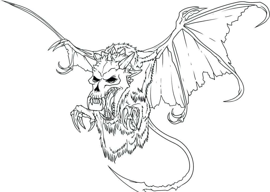 1024x729 Scary Coloring Pages Bat Skeleton Scary Coloring Pages Scary