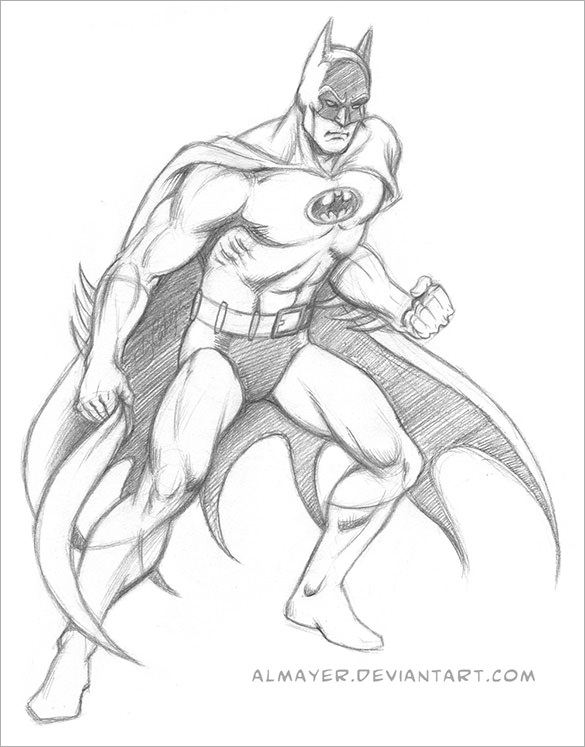 Bat Sketch Drawing
