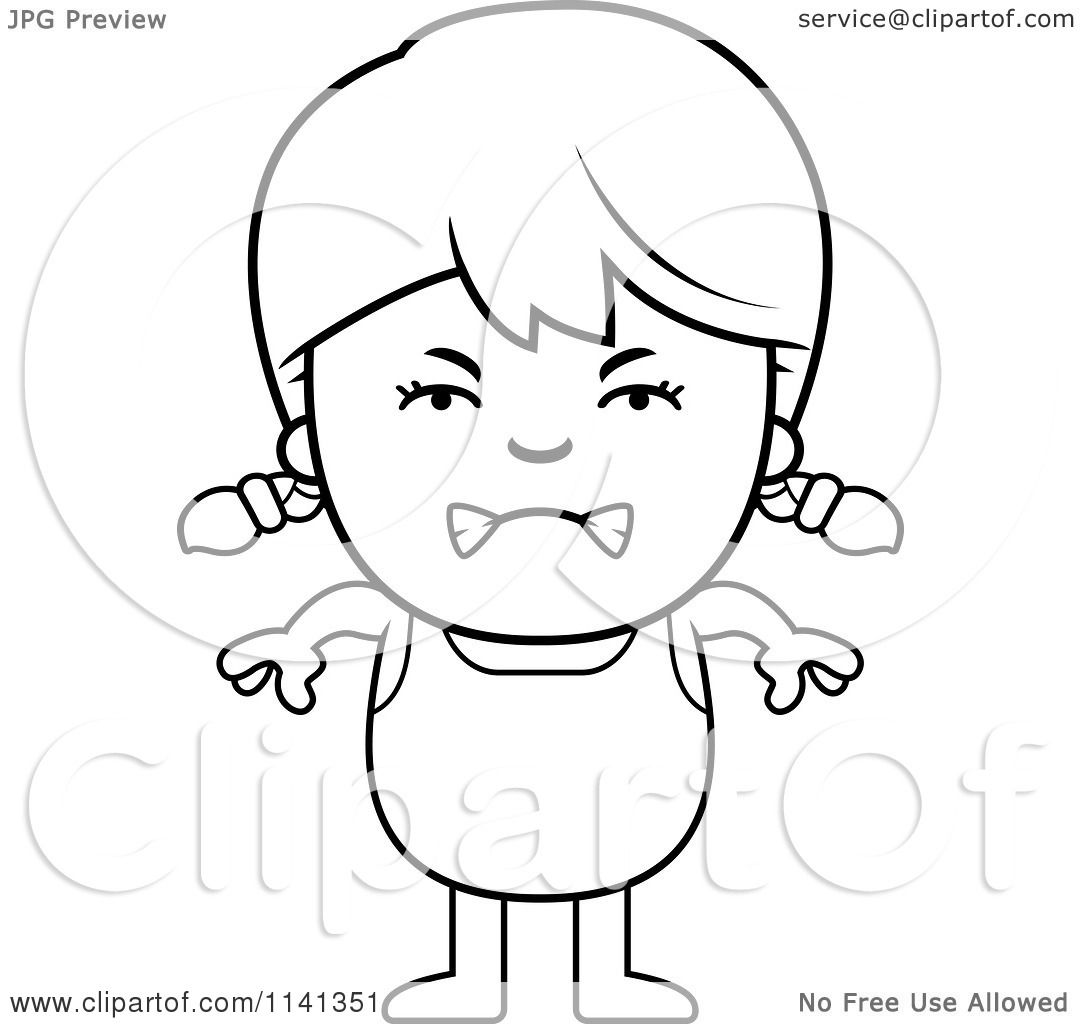 1080x1024 Cartoon Clipart Of A Black And White Angry Girl In A Bathing Suit