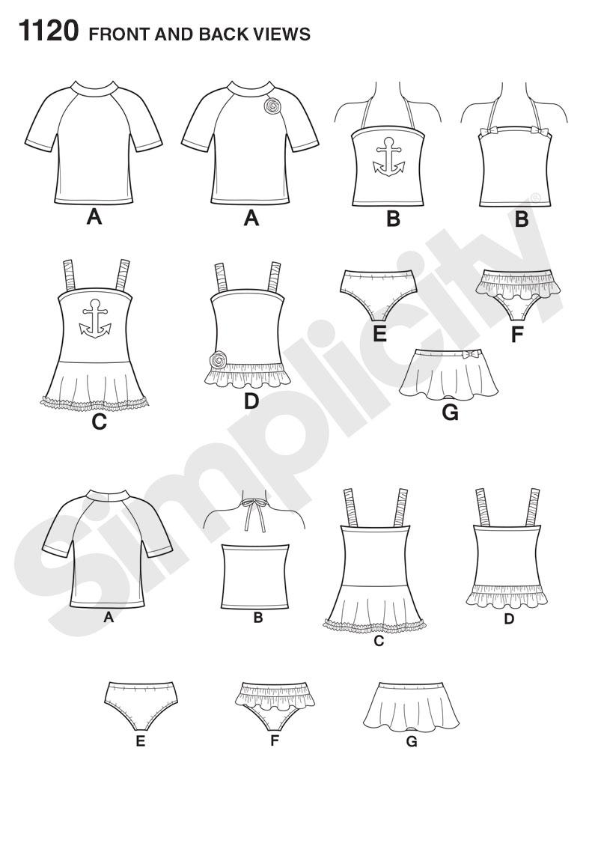 795x1142 Simplicity 1120 Child's Rash Gaurd And Bathing Suit Pieces