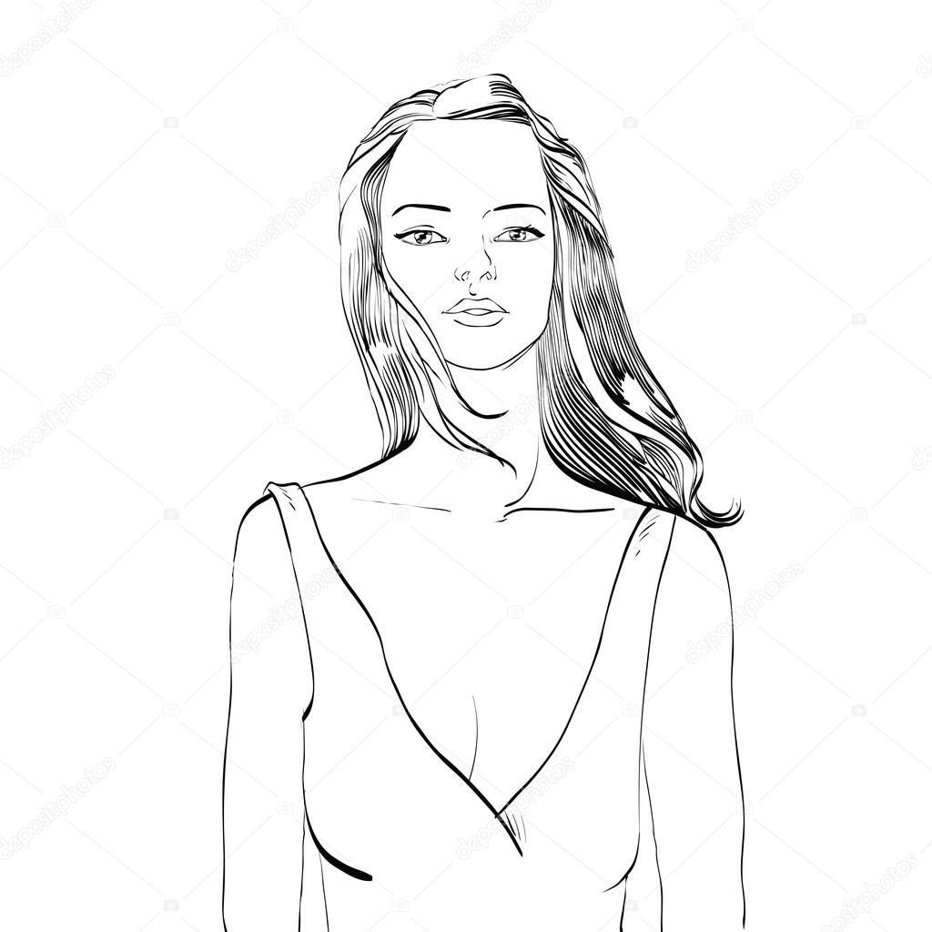 1024x1024 Young Woman In Bathing Suit Black And White Drawing Stock Vector