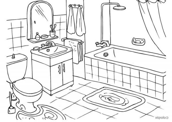 600x425 Coloring Page Bathroom (Ordinary Bathroom Drawing Awesome Design