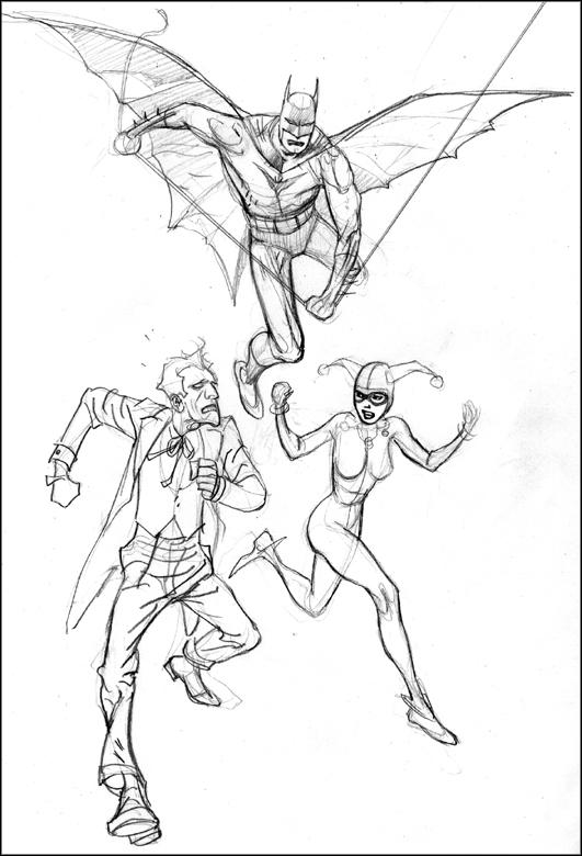 531x780 Kevin Nowlan Batman, Joker Amp Harley Commission