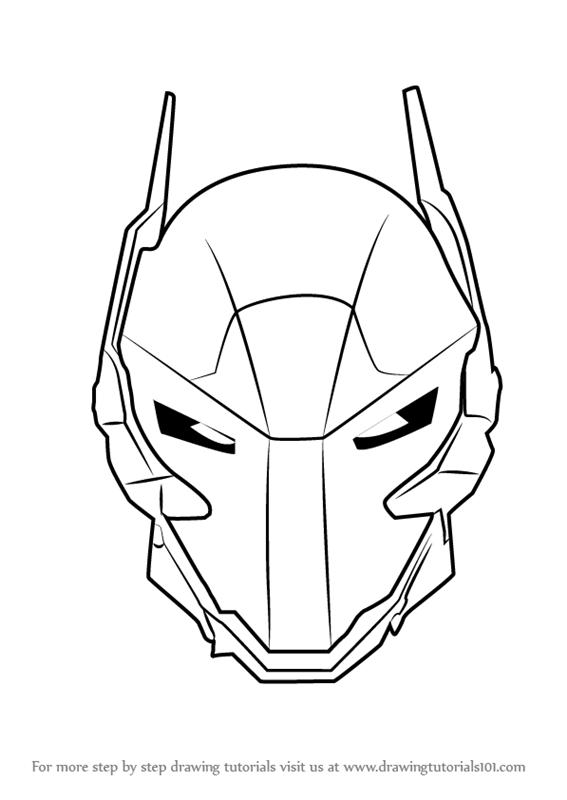 567x800 Learn How To Draw Arkham Knight Helmet From Batman (Batman) Step