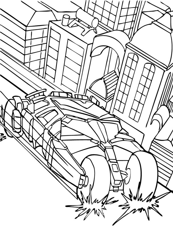 607x850 Batman's Car In The City Coloring Page! Free Printable Batman