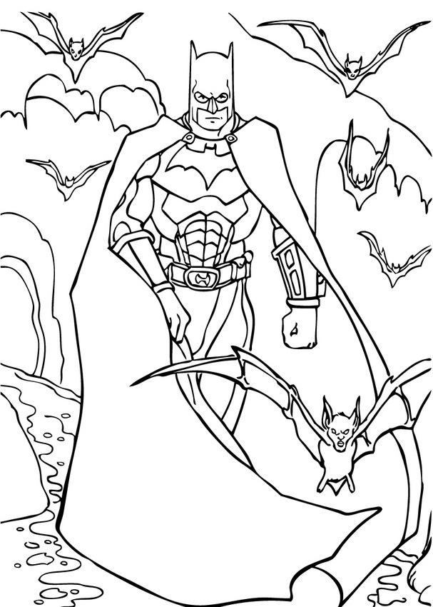 607x850 Batman's Car In The City Coloring Pages