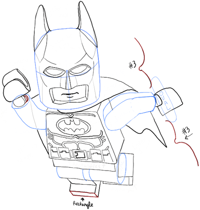 650x683 How to Draw Lego Batman Minifigure with Easy Step by Step Drawing