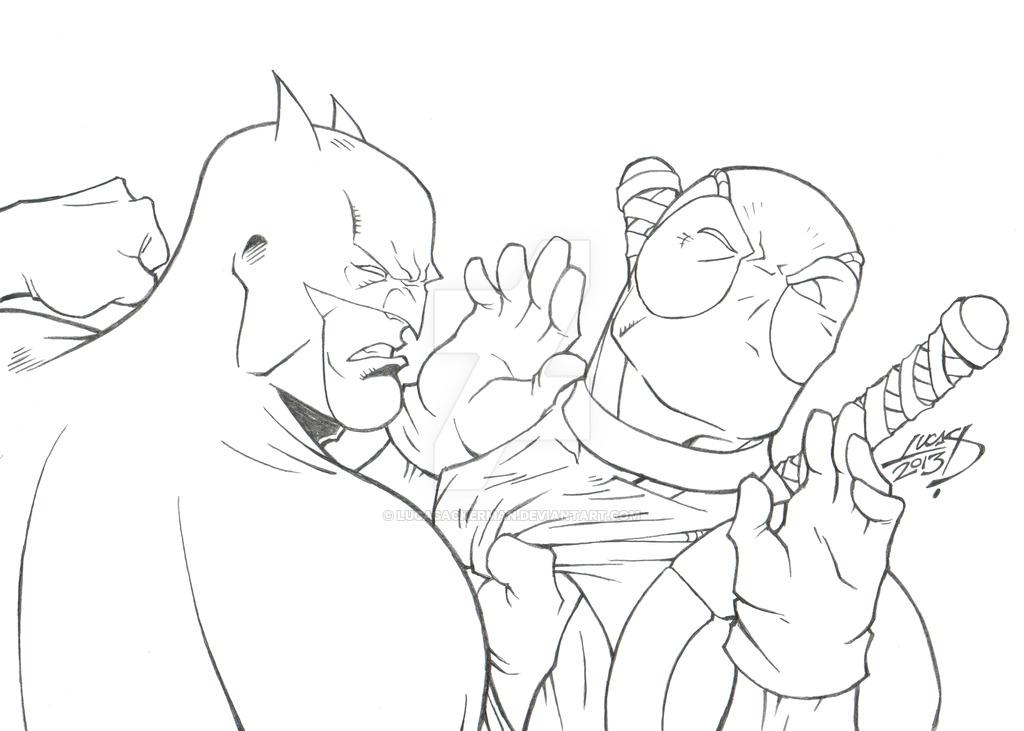 1024x731 Batman Vs Deadpool 2013 By Lucasackerman