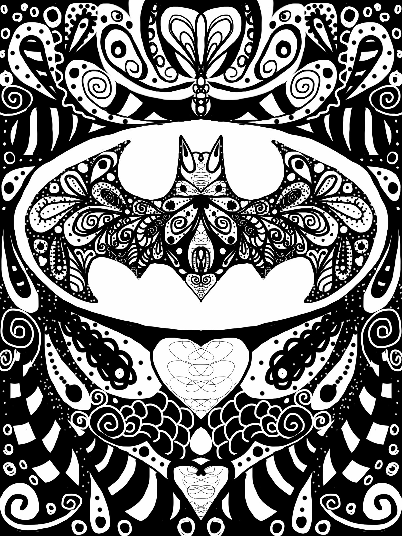 1650x2200 Batman Doodles Zentangle Batman, Wallpaper