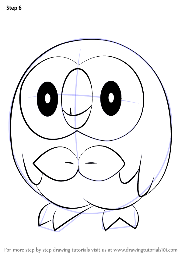 598x844 Learn How To Draw Rowlet From Pokemon (Pokemon) Step By Step