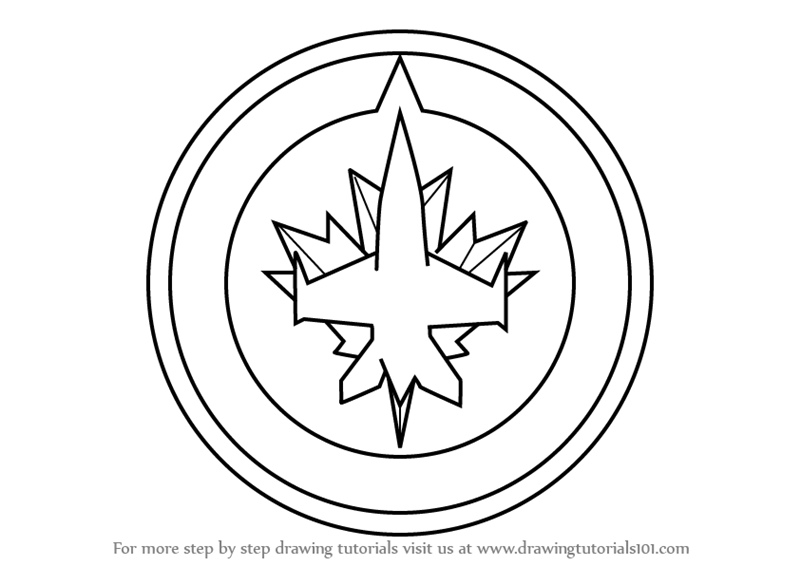 800x566 Learn How To Draw Winnipeg Jets Logo (Nhl) Step By Step Drawing