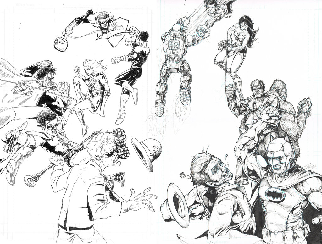 1024x776 Riddler Vs Robin And Batman Vs Joker (Combined) By Xknightly