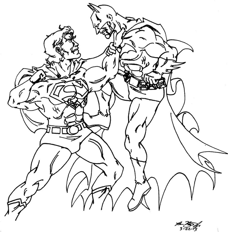 886x902 Superman Vs Batman Line Art By Alexdino