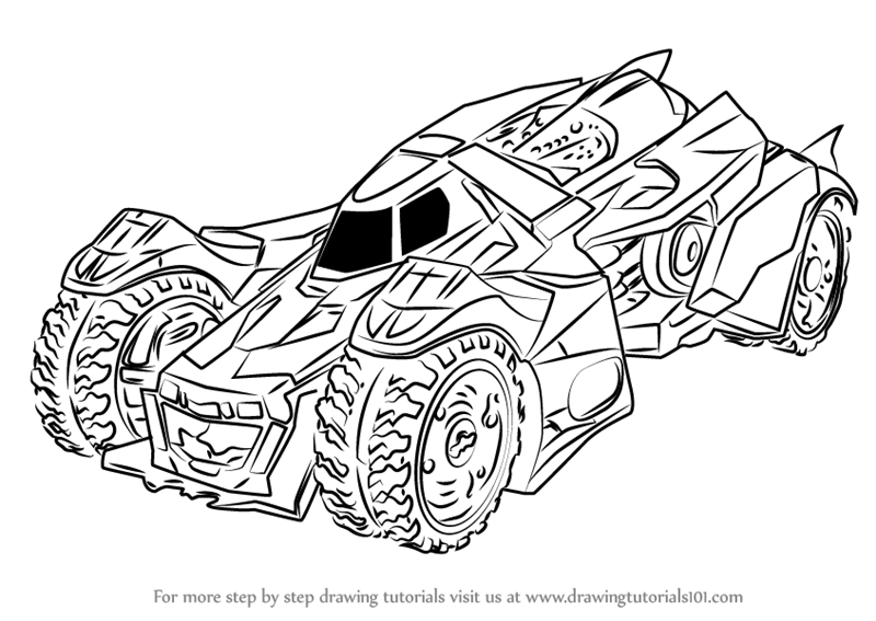800x567 Learn How To Draw Batmobile Arkham Knight (Batman) Step By Step