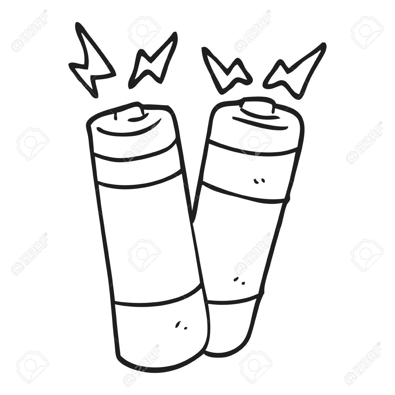 1300x1300 Freehand Drawn Black And White Cartoon Batteries Royalty Free
