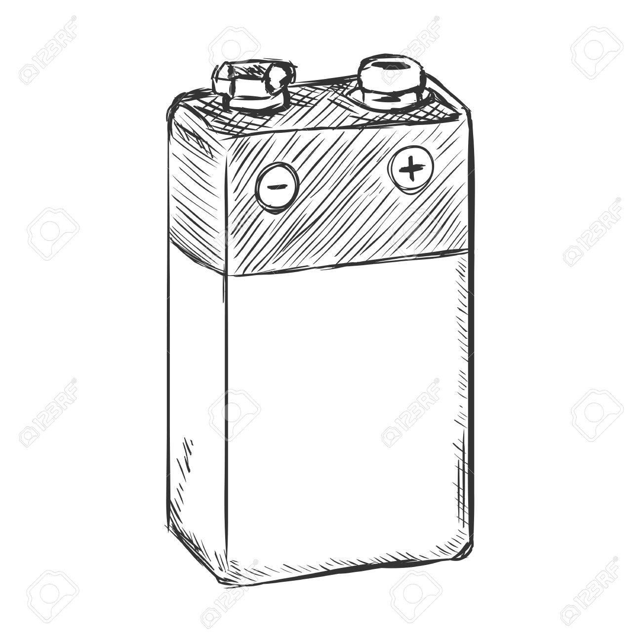 1300x1300 Vector Sketch 9v Krona Battery On White Background Royalty Free