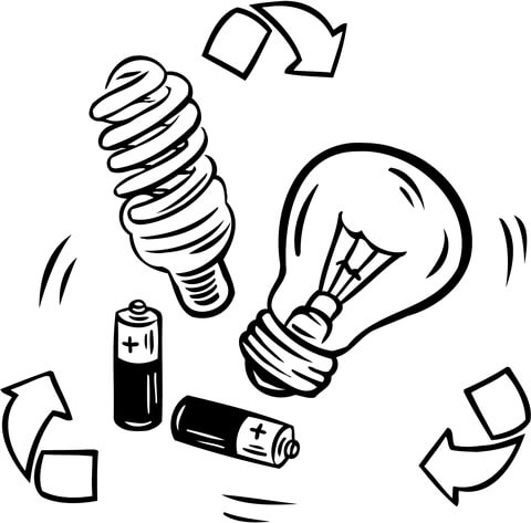 480x473 Battery And Bulb Recycling Coloring Page Free Printable Coloring