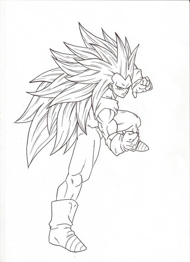 762x1048 Ssj3 Fighting Pose. Sketch By Moxie2d