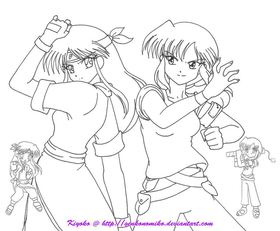 983x812 Akemi And Kiyoko Battle Poses By Genkonomiko