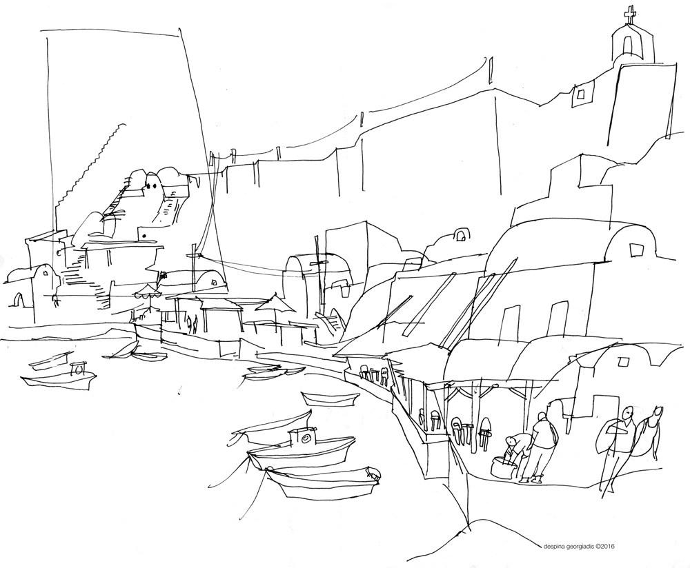 1000x824 Santorini Line Drawing