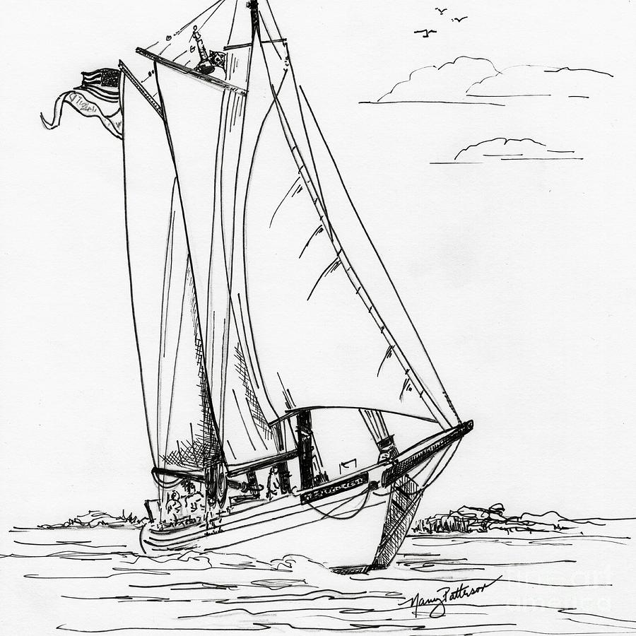 900x900 Schooner On The Bay 2 Drawing By Nancy Patterson