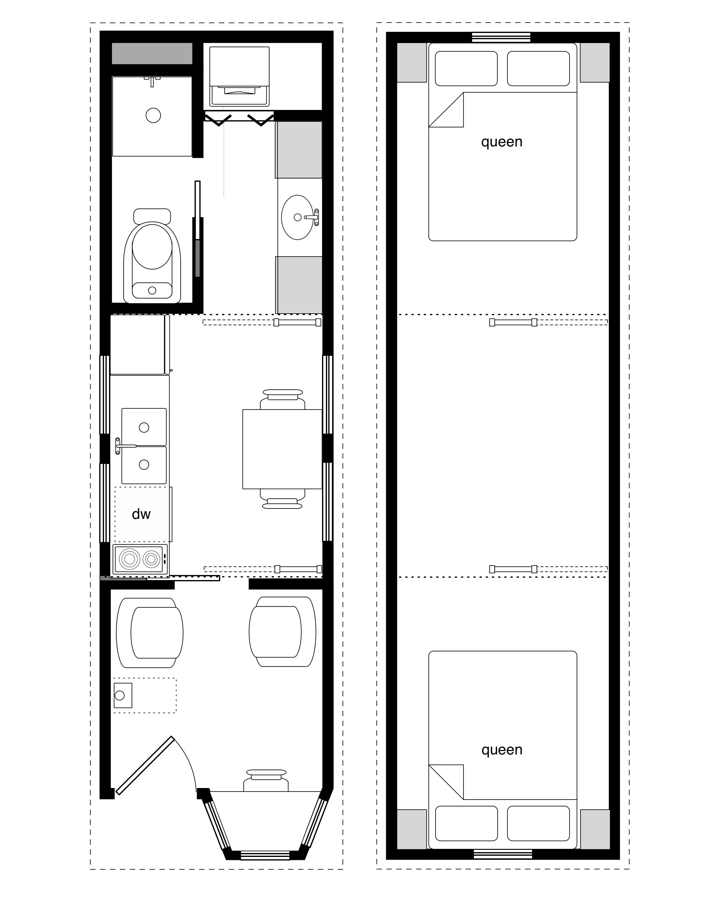 2400x3030 Coastal Cottage With Bay Window 8' X 28' Tiny House Framing