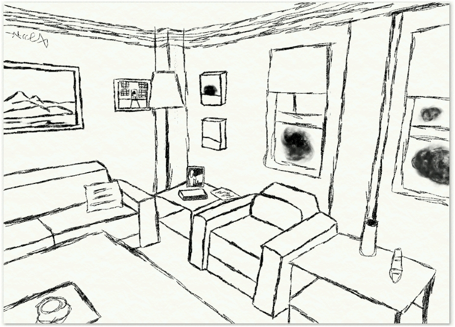 890x640 Living Room Drawing By Denny Casto Within Ideas 18