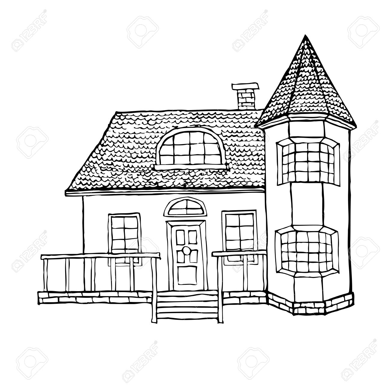 1300x1300 Village House With A Bay Window, A Turret, A Loft And A Terrace