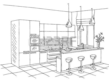 450x338 Bay Window Graphic Black White Interior Sketch Illustration Vector
