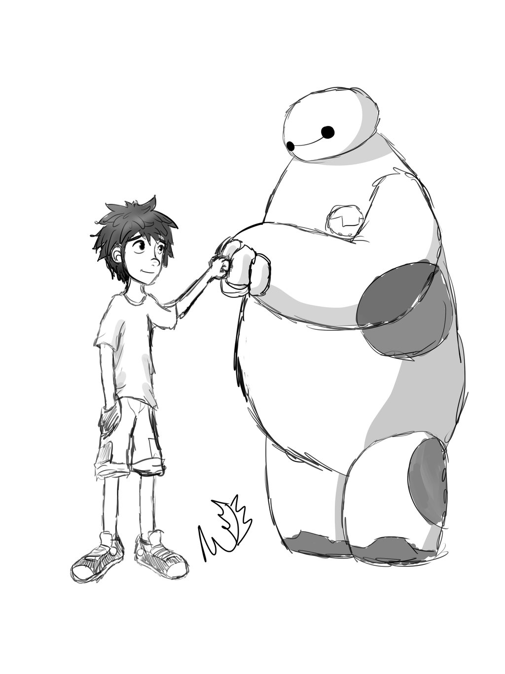 1024x1365 Hiro And Baymax Fistbump~ Digital Sketch~ By Alphafuryofthenight