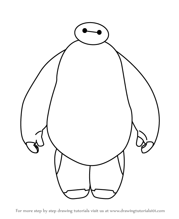 596x731 Learn How To Draw Baymax From Big Hero 6 (Big Hero 6) Step By Step