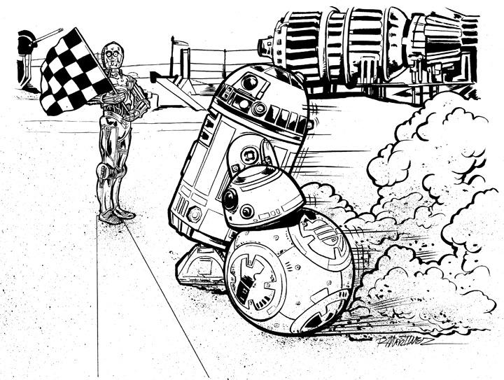 720x543 Original Art Star Wars Bb 8 Vs R2d2 Randy Martinez Art Store