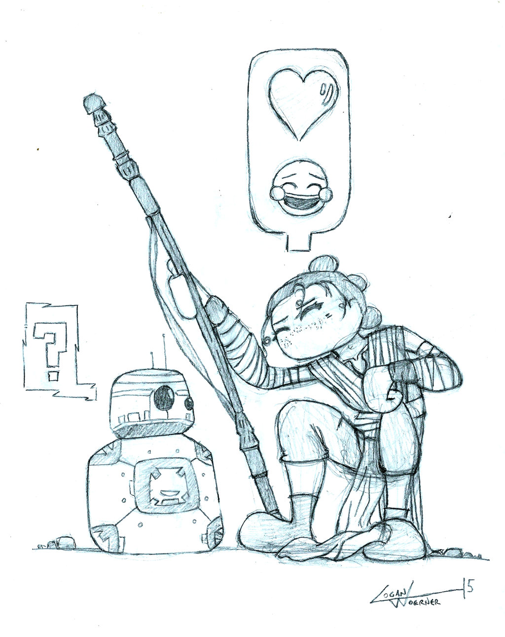 1024x1290 Rey Meets Bb 8 (Pencils) By Ilike Taters
