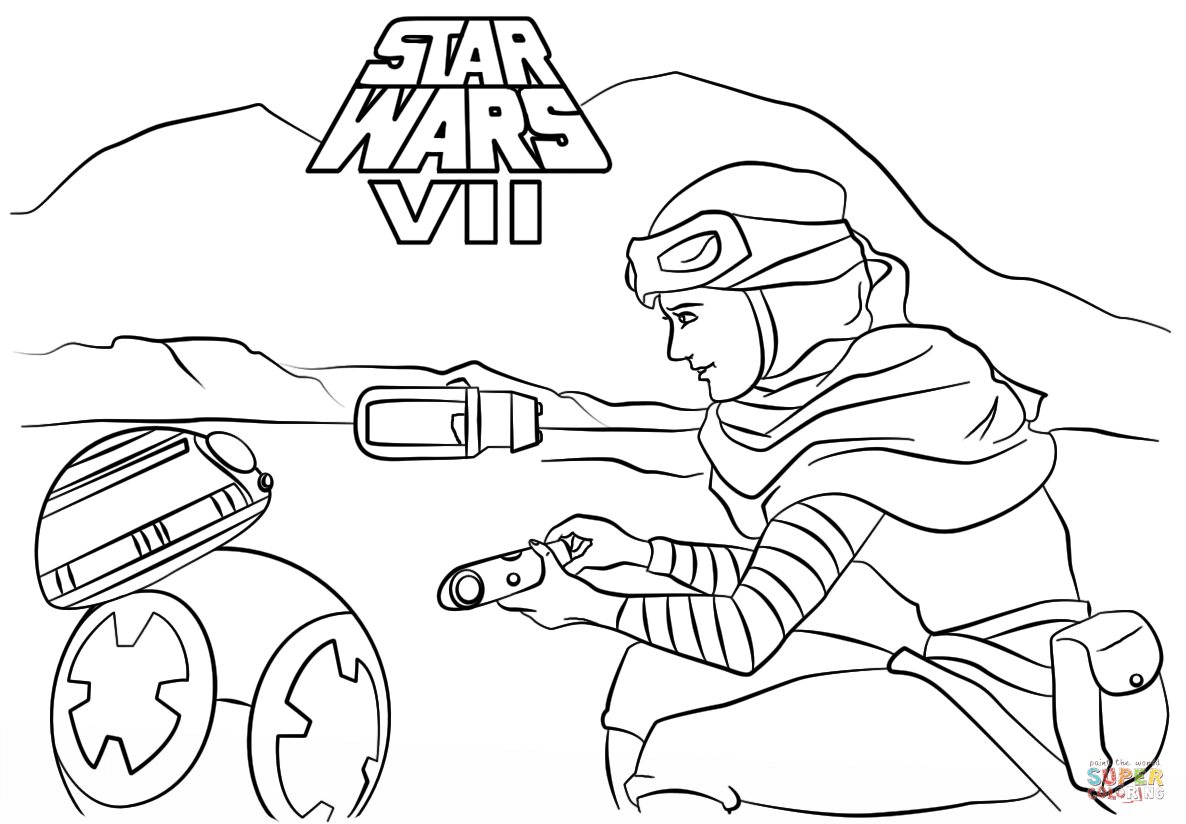 1186x824 Rey And Bb 8 Coloring Page Free Printable Coloring Pages
