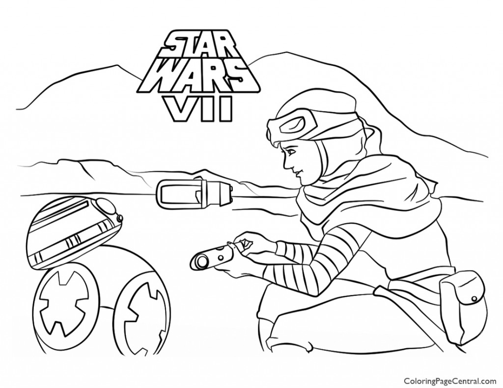 1024x791 Star Wars Rey And Bb 8 Coloring Page Coloring Page Central
