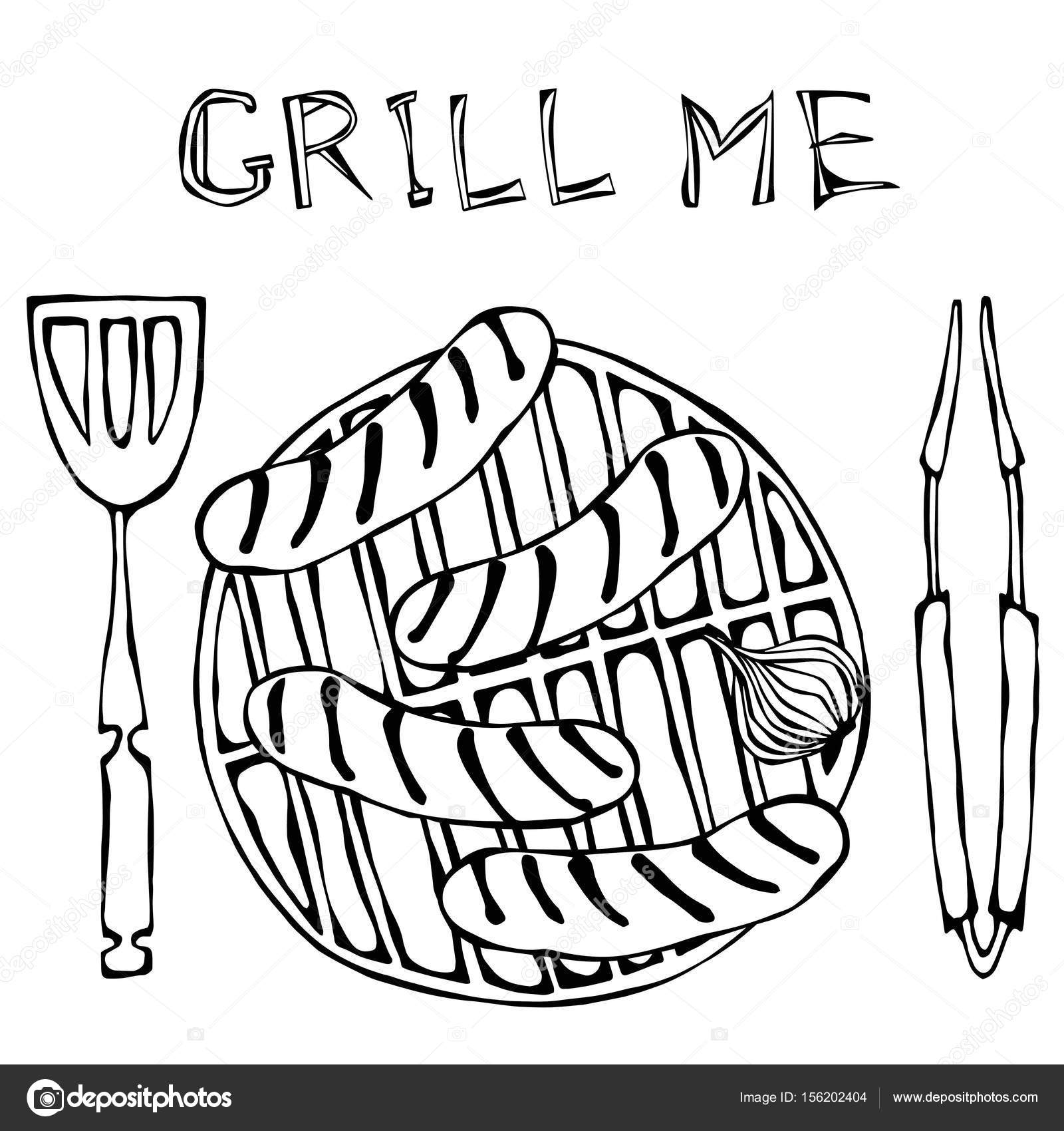 1600x1700 Sausages And Onion On The Bbq Grill. Lettering Grill Me. Barbecue