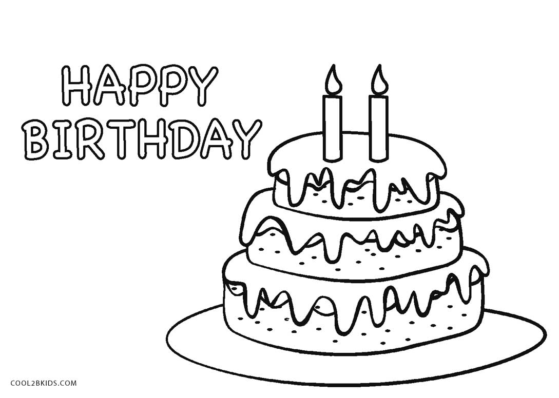 1089x776 Free Printable Birthday Cake Coloring Pages For Kids Cool2bkids