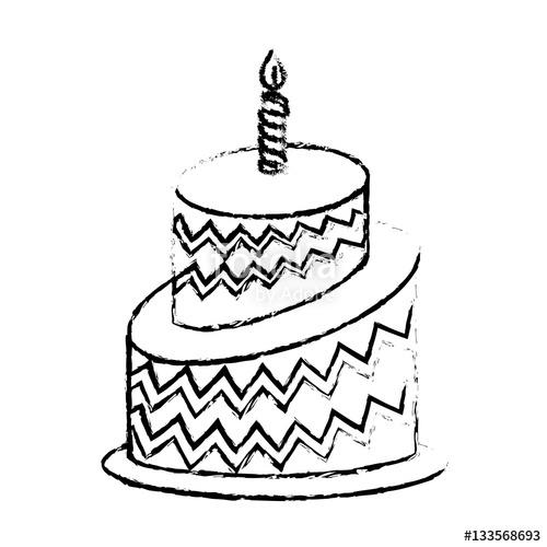 500x500 Birthday Cake Icon Image Sketch Line Vector Illustration Design