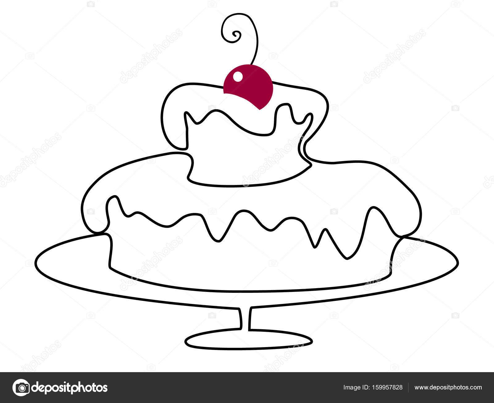 1600x1306 Birthday Cake Drawing Stock Vector Agnieszka