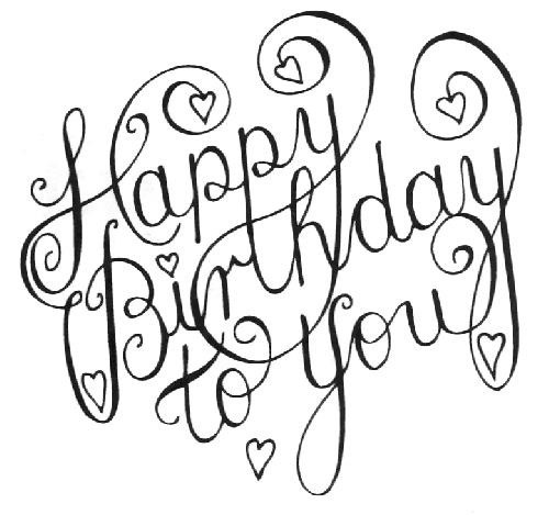 500x469 Best Happy Birthday Black And White Images For Drawing Bday