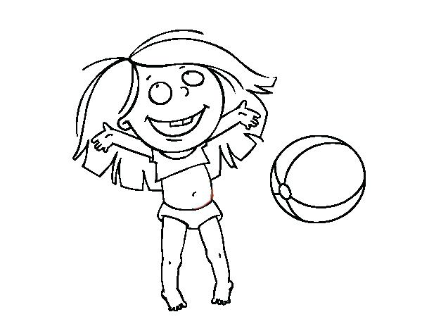 600x470 Beach Ball Coloring Page Girl Playing Beach Ball Coloring Pages