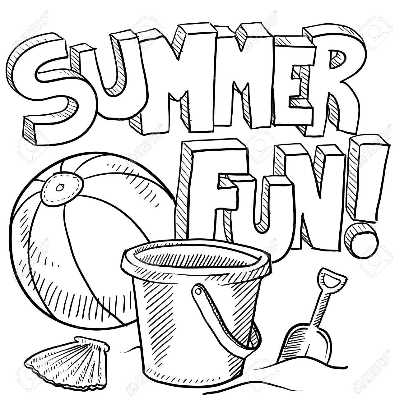 1299x1300 Doodle Style Sketch Of Summer Fun, Including Title, Beach Ball