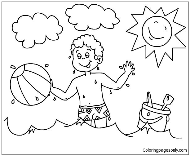 613x503 A Boy Playing With His Beach Ball Coloring Page