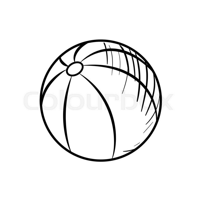 800x800 Sketch Baby Beach Ball. Hand Drawn Ball Icon. Ball Sketch Icon
