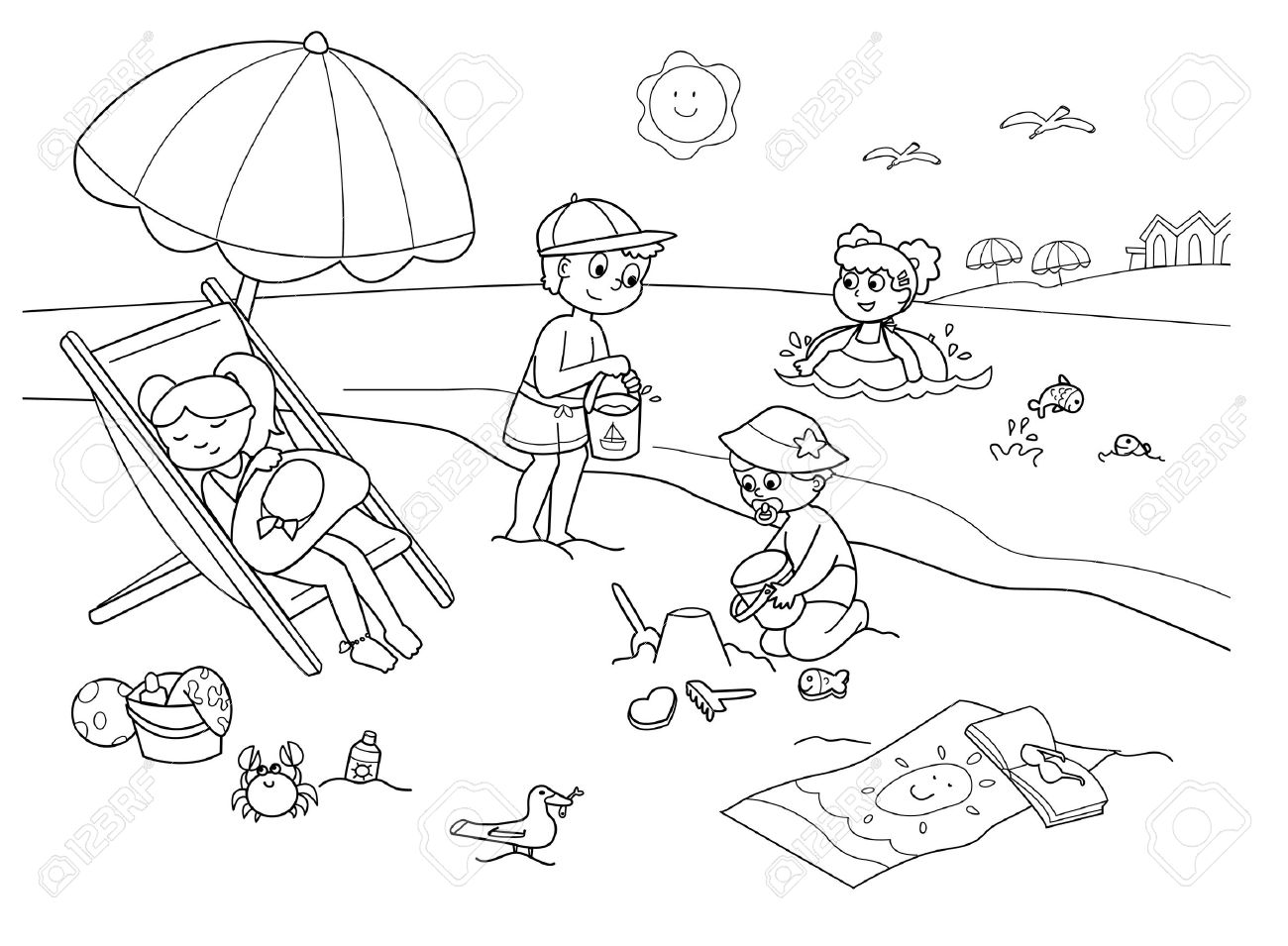 1300x955 Children Playing With The Sand At The Beach. Cartoon Illustration