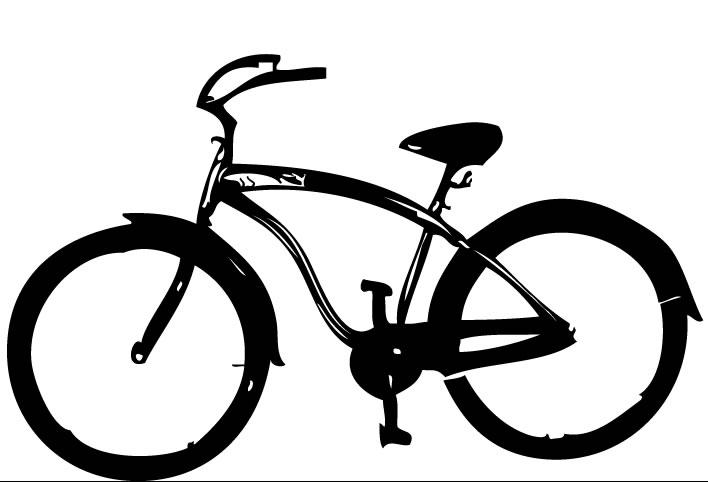 708x482 Beach Cruiser Bicycle Wall Decal
