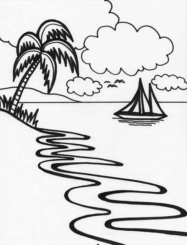 600x786 Beautiful Beach Line Drawing In Art Graphic Coloring Page