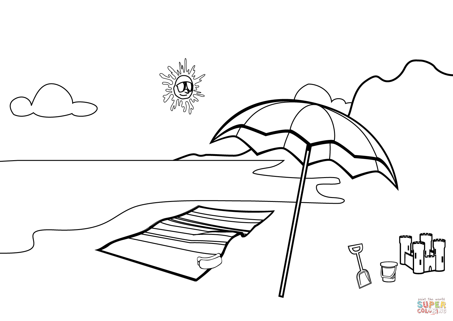 1500x1062 Drawing Of Beach Scene Beach Scene Coloring Page Free Printable