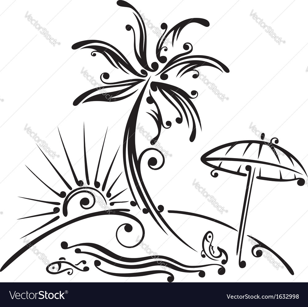 1000x996 Palm Tree Beach Drawing Palm Tree Beach Sun Royalty Free Vector